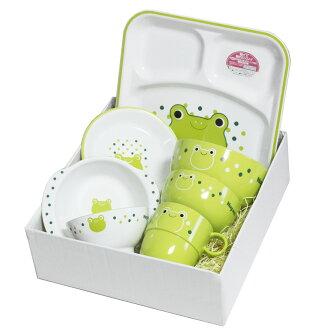 山中伸彌漆器兒童餐具朋友和同事設置 haguma 青蛙 (託盤,微波爐,洗碗機和機器,午餐 TRA,陶瓷餐具,吃第一套) 001 2722年一