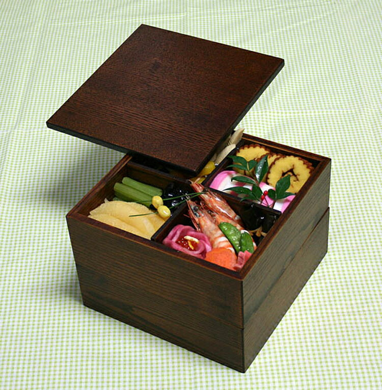 【送料無料】【重箱】 木製 二段オードブル重箱 21cm 仕切り付 うるし塗 001-85…...:eemon:10000952
