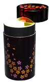 紀州漆器の上品に仕上げられた茶筒。ギフトや記念品、海外の方への贈り物にも。紀州漆器 茶筒(大) 別甲 桜 21571a【楽ギフ包装】【楽ギフのし宛書】[fs01gm]fs2gm【RCP】