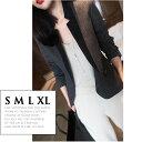 ショッピングスウェード ウール素材 ヘリンボーン柄 スエード襟 テーラードジャケット ジャケット レディース 長袖 チャコールグレー 小さいサイズ 大きいサイズ S M L XL