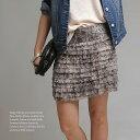 ショッピングフリル [メール便可]パイソン柄のフリルスカート着てみるととても可愛いんです♪ミニスカート・ボトムス・レディースファッション△△△
