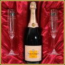 ショッピングワイン プレミアムギフト 名入れリーデルシャンパングラス&ヴーヴ・クリコ・ローズラベル750ml ギフトセット