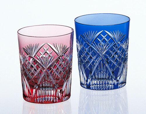 江戸切子 ペアロックグラス<笹っ葉に斜格子紋>品番 - 2652 カガミクリスタル