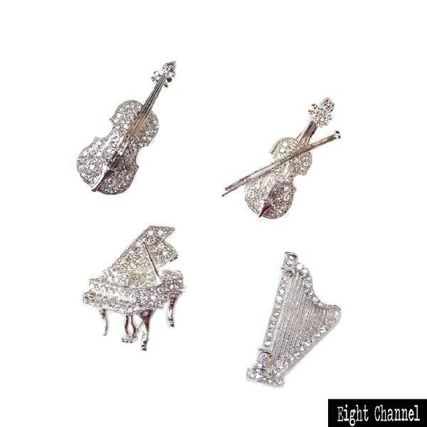 ブローチ楽器ピアノバイオリンチェロハープメール便対応弦楽器オーケストラバンギャ軽音楽ギフ 包装