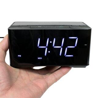 BTクロックラジオBluetooth対応小型目覚まし時計高音質ステレオスピーカースマートフォンのハンズフリー通話コスモテクノCDA-75BT