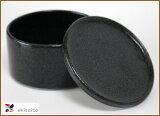 【美浓烧】质朴的颜色和形式的带盖儿的容器黑加深的stacker(特大)[【美濃焼】シンプルな色と形の蓋物黒くて 深めのスタッカー (特大)]