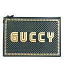 グッチ(Gucci) GUCCYロゴ 510489 ユニセックス レザー クラッチバッグ ゴールド,グリーン 【中古】