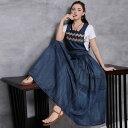 即納 森ガール オリジナルデザイン レトロ調 レディース デニムジャンバースカート ロング丈 刺繍 フォークロア S M L XL