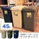 ショッピング分別 【送料無料】ゴミ箱 分別式キッチンゴミ箱 ダストボックス 連結機能付 分別シール付き ゴミ袋ストッパー付 ワンハンドペール 45L おしゃれ フタは取外しできて洗えます / 連結機能付きダストボックス