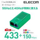 最新の超高速規格 802.11ac 433Mbps(理論値)に対応したポータブル無線LANルーター