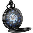 送料無料 新品 手巻き式 ブルーダイヤル 懐中時計 クォーツ アナログ時計 ローマ数字 手巻き懐中時計