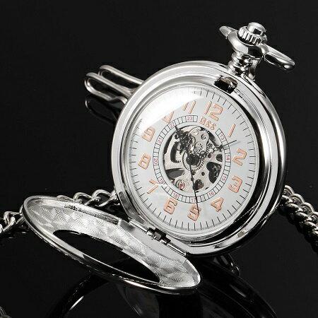 送料無料 新品●手巻き式 ハンド・ワインディング機構 懐中時計 スケルトン 懐中時計 アナログ時計 シルバー●アラビア数字