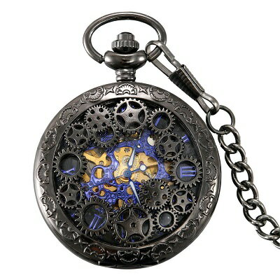 【送料無料】 新品 手巻き式 歯車デザイン ブルーダイヤル 懐中時計 クォーツ アナログ時計 ローマ数字 手巻き懐中時計