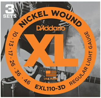 Beginners recommended D ' Addario (D'Addario) electric guitar string set 3 Pack EXL110-3D 10-46