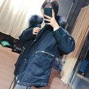 レディース 韓国ファッション アウター ジャケット コート ミディアム フード付き ファー ロングスリーブ 秋物冬物 普段着 オフコーデ OFF 大人可愛い ベージュ ブラック ブルー カーキ S M L