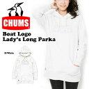 送料無料 ロングパーカー CHUMS チャムス レディース Boat Logo Lady's Long Parka 長袖 ロゴ 裏起毛 ロゴ スウェット プルオーバー フ..