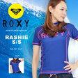 送料無料 半袖ラッシュガード ROXY ロキシー レディース RASHIE S/S ロゴ 水着 UVカット UPF50+ 紫...