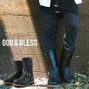 送料無料 God&Bless LEATHER ENGINEER BOOTS メンズ レディース ブラック 黒 ゴッドブレス レザー 本革 ロングエンジニアブーツ