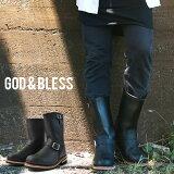 送料無料 God&Bless LEATHER ENGINEER BOOTS メンズ レディース ブラック 黒 ゴッドブレス レザー ロングエンジニアブーツ