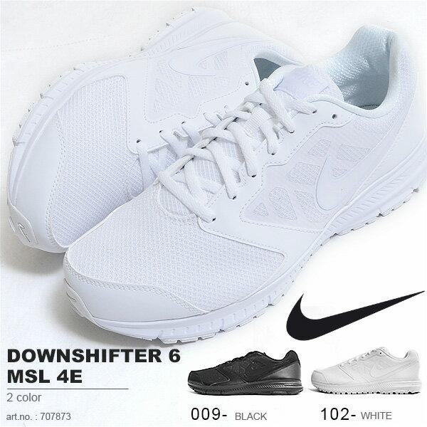 ランニングシューズナイキNIKEメンズレディースダウンシフター6MSL4Eシューズ靴スニーカー黒白スポーツシューズランニングジョギング学校通学通勤707873