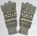 アルパカ100%手袋 手編み 高品質 ソフト 暖かい 可愛い アンデス 幾何学柄 ALA-061 淡グレー