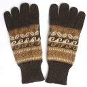 アルパカ100%手袋 手編み 高品質 ソフト 暖かい 可愛い アンデス 幾何学柄 ALA-061 こげ茶