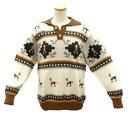 アルパカ100% ALCN-001-2 襟付き セーター 男性 ペルー インディオ アルパカ リャマ柄 茶