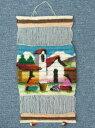 ペルー草木染め 織り込み壁掛け 綺麗 可愛い インディオ アンデス風景 アルパカRA-A5