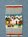 ペルー草木染め 織り込み壁掛け 綺麗 可愛い インディオ アンデス風景 アルパカRA-A17