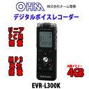 【オーム電機】デジタルボイスレコーダー リニアPCM 大容量4GB ICレコーダー EVR-L300K