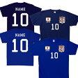 サッカーユニフォームTシャツ 背番号&名入れ ベビー、キッズ、アダルト、綿100%、サポーターグッズ、ナショナルチーム、SOCCER、フットボール、子供服、子供用、大人用、アダルトサイズ