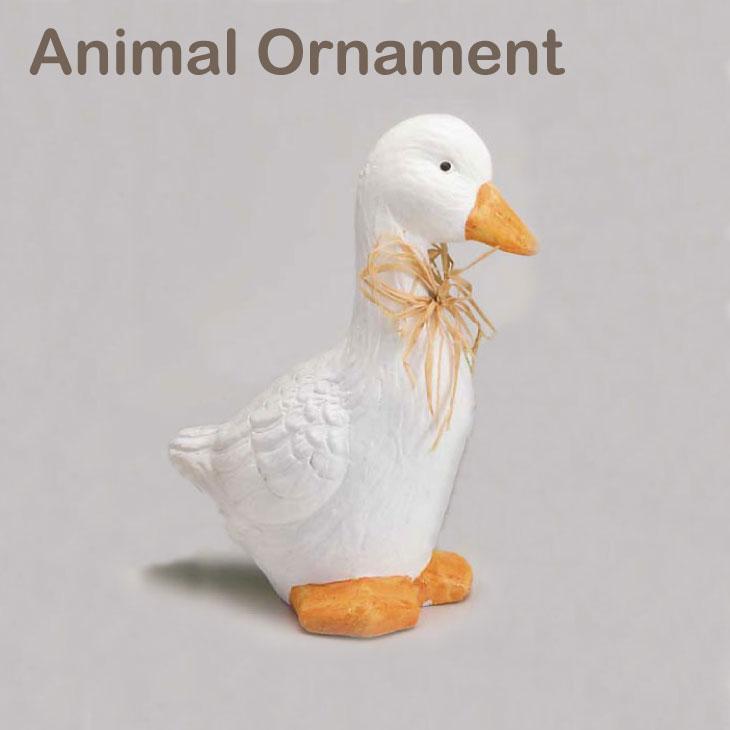 アヒルLアニマルオーナメントガーデニング庭おしゃれオシャレ可愛いオブジェ雑貨動物鳥あひる白ホワイト