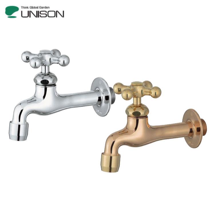 水栓柱蛇口ユニソンプレーンフォーセットクロスアダプター付きシルバー/ゴールドUNISON立水栓蛇口庭