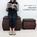 座れる ラタン風 収納スツール 大 ブラウン 茶色 アジアン モダン インテリア ストレージボックス 椅子 ベンチ 長方形 四角