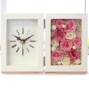 プリザーブドフラワー 置き時計 プレゼント フラワー アレンジメント プリザーブド ブリザード