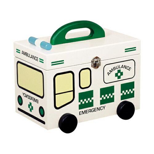 ポイント5倍 かわいい救急箱 キュアメイト グリーンの救急車 G-2349N【薬箱】【救急箱】【救急ボックス】【サプリメントボックス】【木製】【ファンシー】【かわいい】【おしゃれ】【あす楽対応】