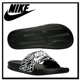 耐克 (Nike) 女性 BENASSI JDI 列印 (Benassi JDI 列印) 健康淋浴涼鞋黑/白 (棕櫚) 黑色 / 白色 (618919 011)