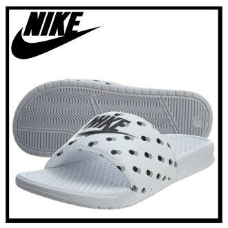 耐克 (Nike) 女性 BENASSI JDI 列印 (Benassi JDI 列印) 健康淋浴涼鞋白/黑-狼灰色 (陰影點) 白色 / 黑色 / 灰色點 (618919 105) 無止境的旅途 (無休止的旅行)