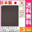 国産 ホットカーペット 3畳 本体 グレー WHC-302 電気カーペット 3畳用 日本製 ホットマット ミニマット 電気マット 195×235cm 長方形 ..