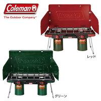 【ツーバーナー】【B】【送料無料】Coleman(コールマン)パワーハウスLPツーバーナーストーブII【ガス レジャー アウトドア BBQ】208074 2000006707・2000021950 グリーン・レッドの画像
