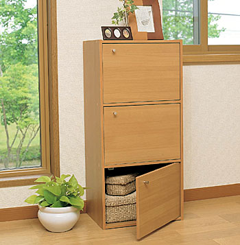 2色から選べる!カラーボックス 3段扉付 CX-33D〔ボックス収納 リビング キッチン …...:enetroom:10015313