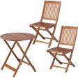 【送料無料】【ガーデンテーブル ガーデンチェア】≪3点セット≫ラウンドテーブル #GT92JP&フォールディングチェア #GC91JP×2脚【ガーデンファニチャー セット テーブル 椅子 木製】 【D】【FB】 おしゃれ