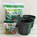 野菜用 とんでもないポット:6号モスグリーン(2個) と土と肥料のセット