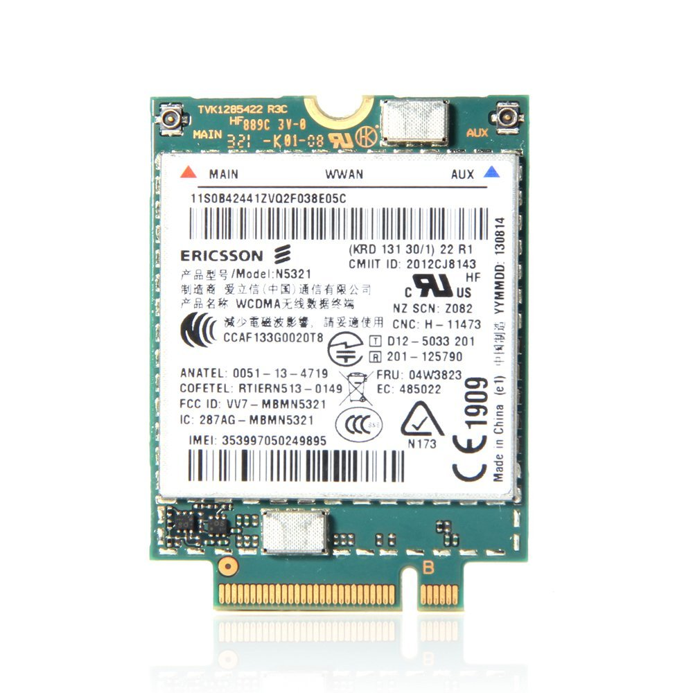 Lenovo Thinkpad 純正品 3G WWAN FRU:04W3823 N5321 L440, L540, L450,T440, T440s, T440p,T450. T450s,T540p, W540,X240, X240s,X250,X1 Carbon(20A7,20A8,20BS,20BT)