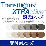 調光レンズ Transitions XTRActive(トランジションズ エクストラアクティブ) 【度付】 プラスチック ハードマルチ(反射防止コート)+SHC(超撥水コート)グレ