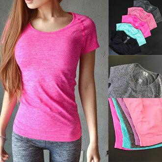 2016S/S 新快速乾燥簡單樸素 T 襯衫女士運動服高彈性瑜伽跑步快幹 532P17Sep16