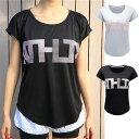 ATHLTX クイックドライ ロゴ スポーツ Tシャツ レディース 半袖  高弾力 ヨガ ランニング 速乾性 吸水速乾シャツ