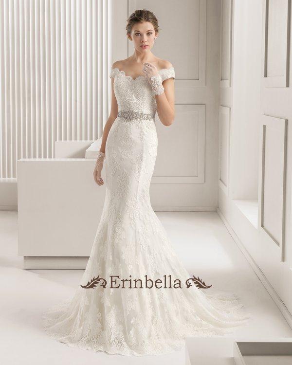 ウェディングドレス オフショルダー 海外挙式 マーメイドライン 可愛いレース 結婚式 二次会 披露宴 TW0889