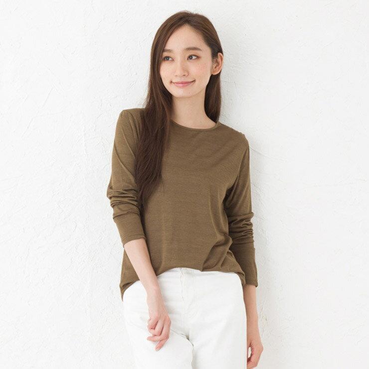 シルク100%ジャージー クルーネック長袖Tシャツ 日本製【シルク インナー】【敏感肌 低刺激】