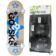 ゴースケート(GOSK8) スケートボード ブルー ジュニア コンプリート+プロテクター Sサイズ 3点セット 16set GOSK8-28 PT12 【キッズ 子供 スケボー 保護パッド】